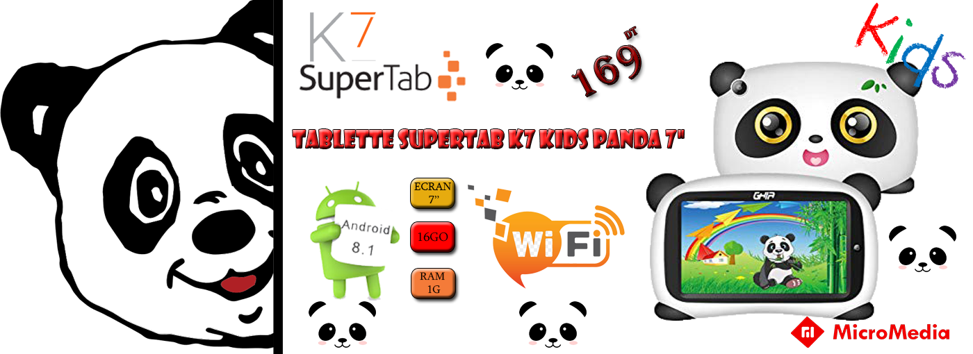 TABLETTE SUPERTAB K7 KIDS PANDA 7