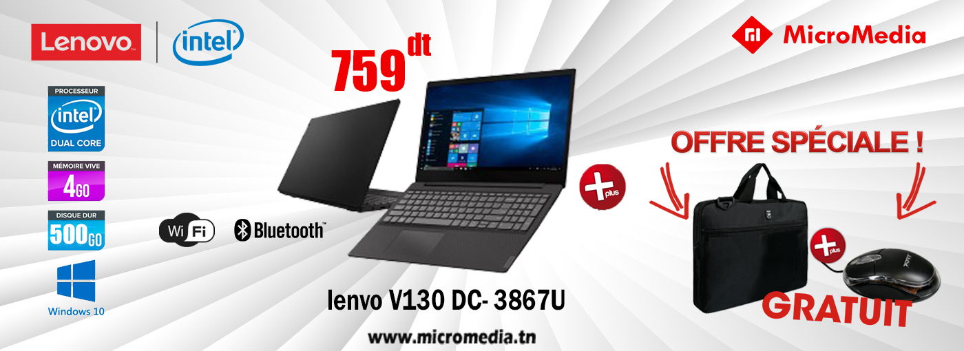 Pc Portable LENOVO V130 Dual Core 4Go 500Go