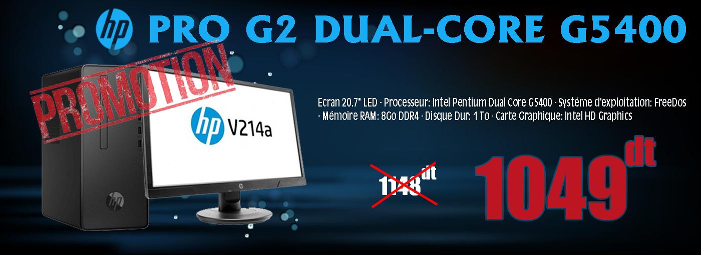 "PC DE BUREAU HP PRO G2 DUAL-CORE G5400 8GO-1TO ECRAN 20.7"""