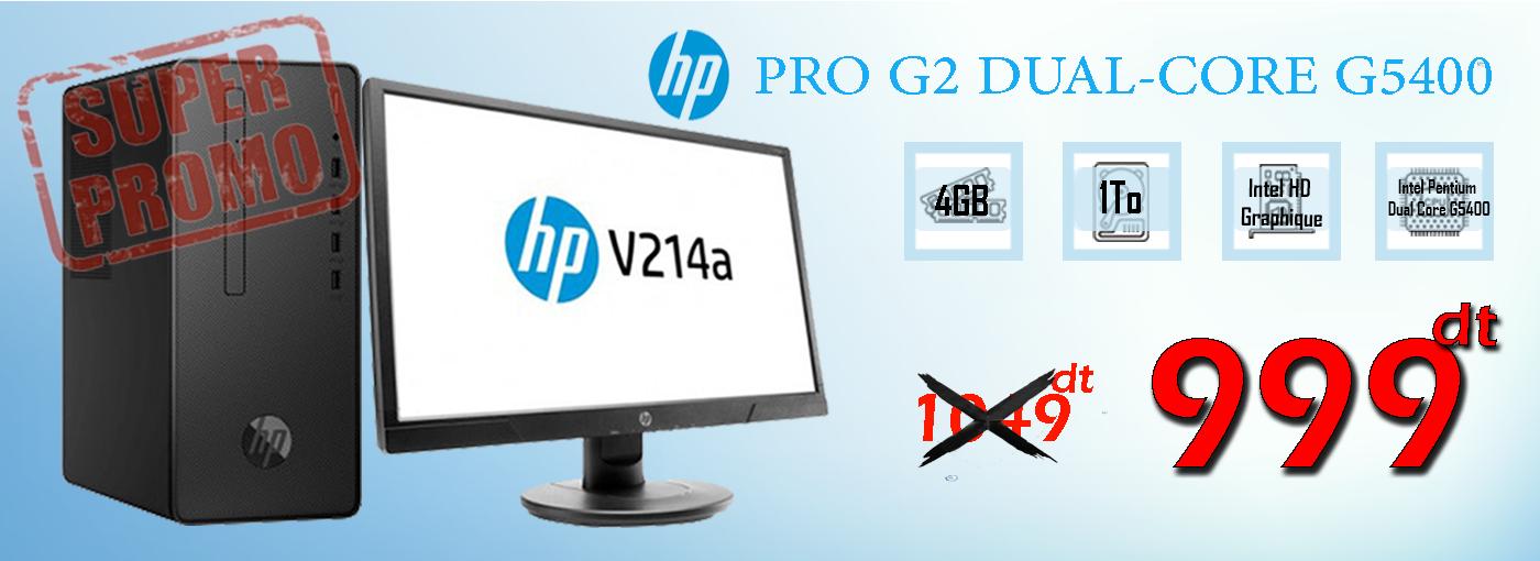 "PC DE BUREAU HP PRO G2 DUAL-CORE G5400 4GO-1TO ECRAN 20.7"""